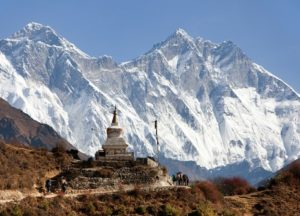 Stupa near Namche Bazar and Mount Everest Lhotse and Nuptse - way to Everest base camp - Nepal